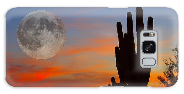 Saguaro Full Moon Sunset Galaxy Case