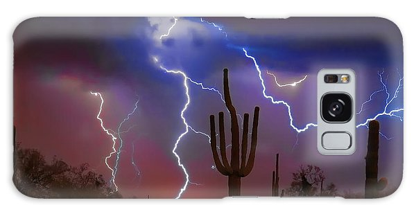 Saguaro Lightning Nature Fine Art Photograph Galaxy Case
