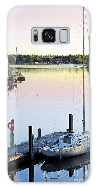 Sailboat At Sunrise Galaxy Case