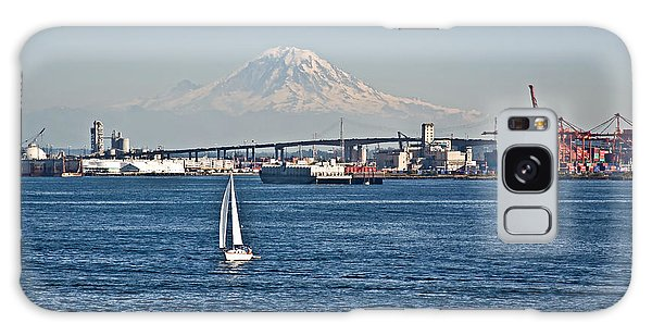 Sailboat Foreground Mt Rainier Washington Landscape Galaxy Case
