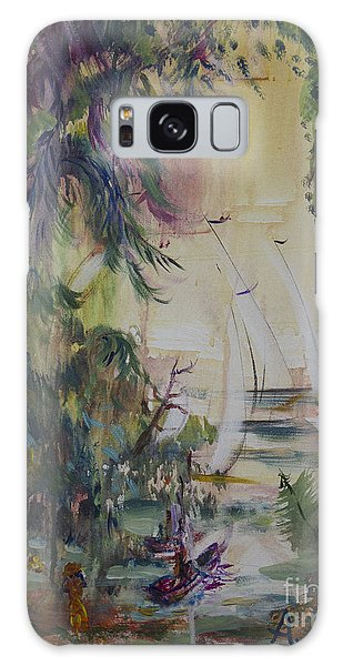 Sailboats Through The Trees Galaxy Case