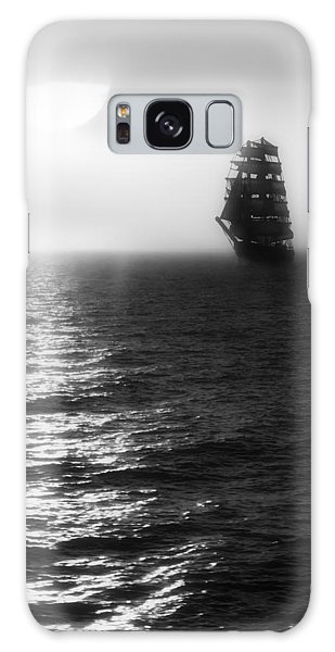 Sailing Out Of The Fog - Black And White Galaxy Case