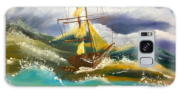 Sailing Ship In A Storm Galaxy Case by Pamela  Meredith