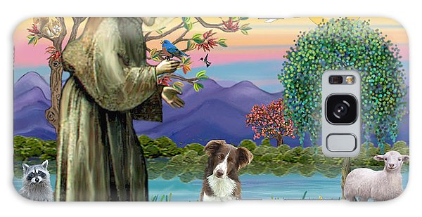 Saint Francis Blesses A Brown And White Border Collie Galaxy Case