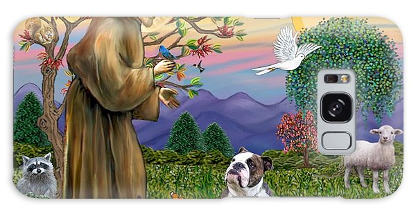 Saint Francis Blesses A Brown And White English Bulldog Galaxy Case by Jean B Fitzgerald