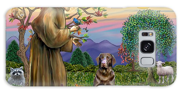 Saint Francis Blesses A Chocolate Labrador Retriever Galaxy Case
