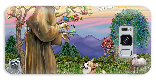 Saint Francis Blesses A Corgi And Her Pup Galaxy Case