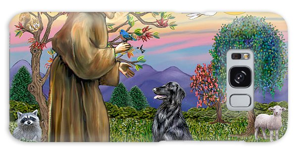 Saint Francis Blesses A Flat Coated Retriever Galaxy Case by Jean B Fitzgerald