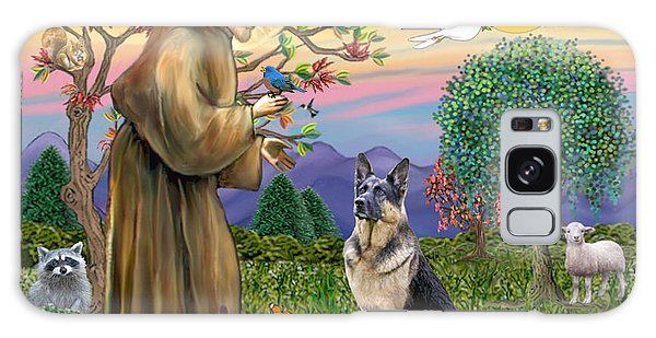 Saint Francis Blesses A German Shepherd Galaxy Case