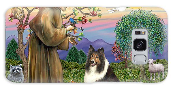 Saint Francis Blesses A Sable And White Collie Galaxy Case by Jean Fitzgerald