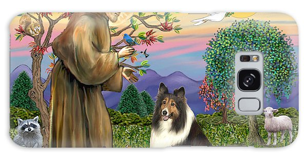 Saint Francis Blesses A Sable And White Collie Galaxy Case