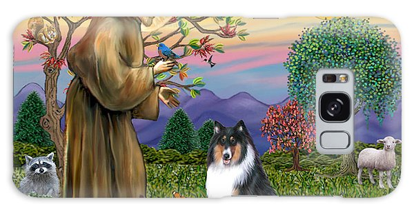 Saint Francis Blesses A Tri Color Collie Galaxy Case by Jean B Fitzgerald