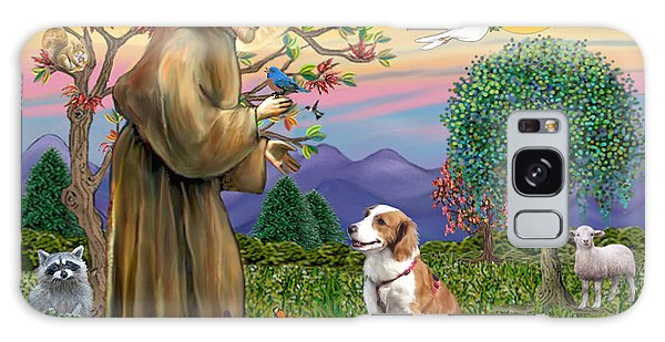 Saint Francis Blesses A Welsh Springer Spaniel Galaxy Case by Jean Fitzgerald