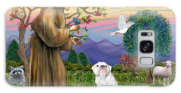 Saint Francis Blesses An English Bulldog Galaxy Case by Jean Fitzgerald