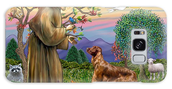 Saint Francis Blesses An Irish Setter Galaxy Case