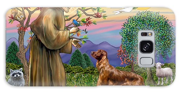 Saint Francis Blesses An Irish Setter Galaxy Case