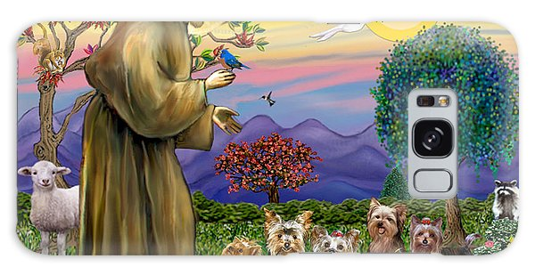 Saint Francis Blesses Seven Yorkies Galaxy Case by Jean Fitzgerald