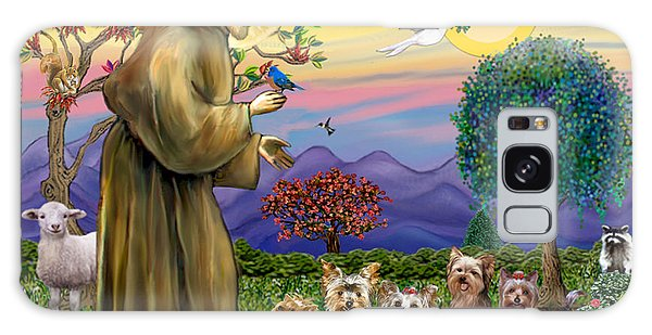 Saint Francis Blesses Seven Yorkies Galaxy Case