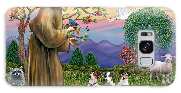Saint Francis Blesses Three Jack Russell Terriers Galaxy Case