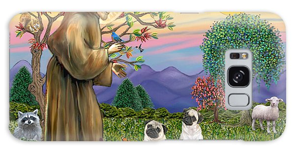 Saint Francis Blesses Two Fawn Pugs Galaxy Case by Jean Fitzgerald
