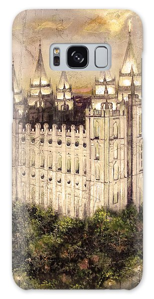 Salt Lake Temple In The Evening  Antique Pink Galaxy Case