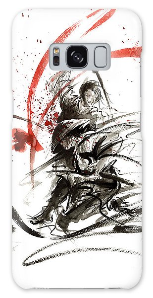 Samurai Sword Black White Red Strokes Bushido Katana Martial Arts Sumi-e Original Fight Ink Painting Galaxy Case