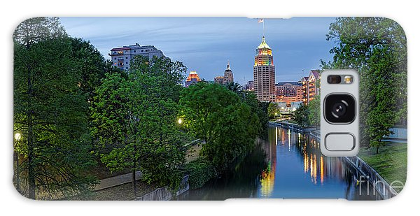 San Antonio Skyline Tower Life Building And Riverwalk From Cesar Chavez Boulevard - Texas Galaxy Case