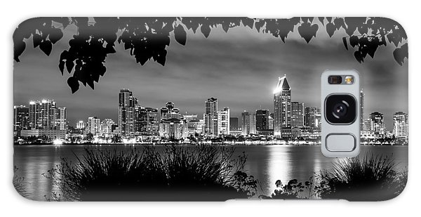 San Diego Skyline Framed 2 Black And White Galaxy Case