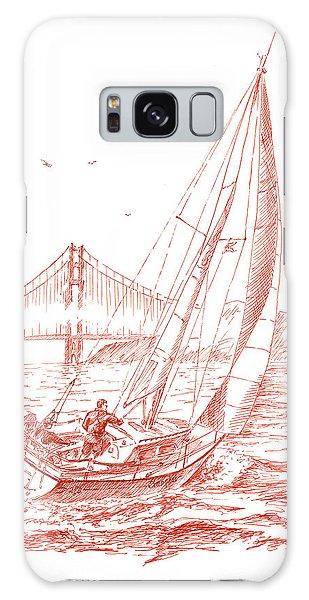 Bay Galaxy Case - San Francisco Bay Sailing To Golden Gate Bridge by Irina Sztukowski