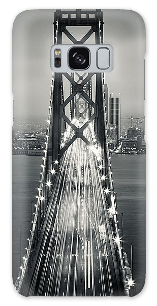 West Bay Galaxy Case - San Francisco - Oakland Bay Bridge Bw by Adam Romanowicz