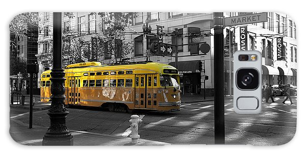 San Francisco Vintage Streetcar On Market Street - 5d19798 - Black And White And Yellow Galaxy Case