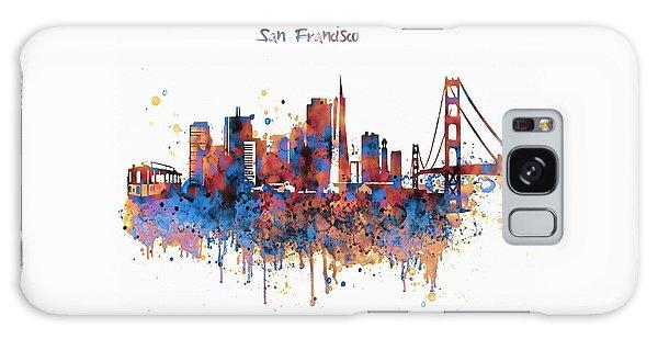 San Francisco Watercolor Skyline Galaxy Case by Marian Voicu