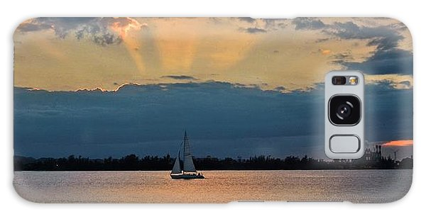 San Juan Bay Sunset And Sailboat Galaxy Case