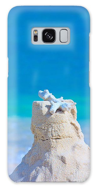 Sand Castle With Coral Against Calm Turquoise Sea Galaxy Case