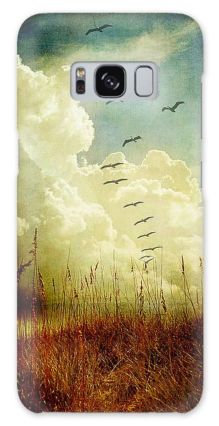 Sand Dunes And Pelicans Galaxy Case by Linda Olsen