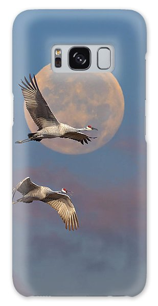 Sandhill Cranes Passing The Moon In The Morning Galaxy Case