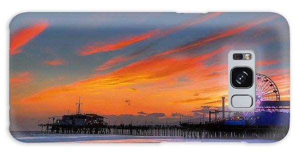 Santa Monica Pier At Dusk Galaxy Case