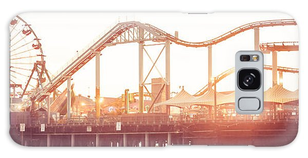 Santa Monica Pier Roller Coaster Panorama Photo Galaxy Case by Paul Velgos