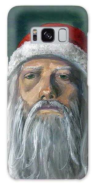 Santa Portrait Art Red And Green Galaxy Case