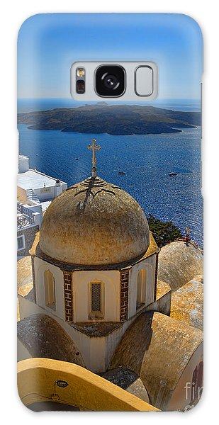 Santorini Caldera With Church And Thira Village Galaxy Case