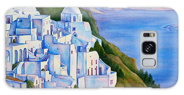 Santorini Greece Watercolor Galaxy Case by Michelle Wiarda