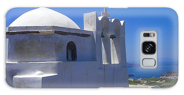 Santorini Hilltop Chapel Galaxy Case