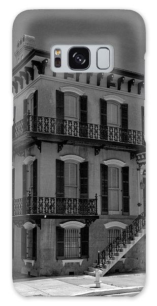 Savannah's Broughton And Houston Streets In Black And White Galaxy Case