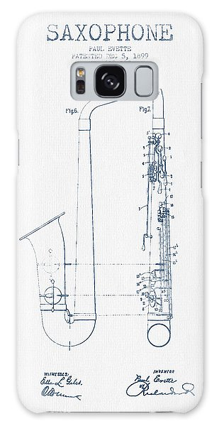 Saxophone Patent Drawing From 1899 - Blue Ink Galaxy Case by Aged Pixel