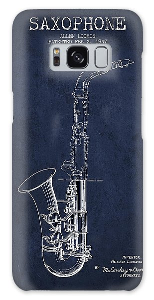 Saxophone Patent Drawing From 1937 - Blue Galaxy Case by Aged Pixel