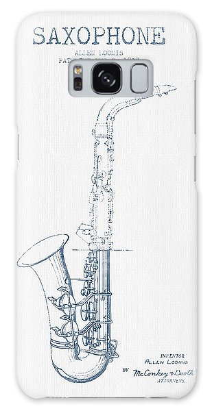 Saxophone Patent Drawing From 1937 - Blue Ink Galaxy Case by Aged Pixel