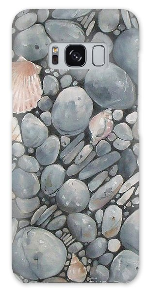Scallop Shell And Black Stones Galaxy Case