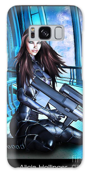 Sci-fi Brunette With A Big Gun Galaxy Case