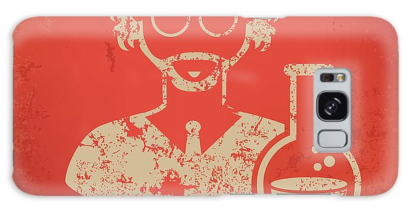 Smart Galaxy Case - Scientist On Red Background,poster by Mamanamsai