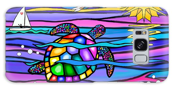 Sea Turle In Blue And Pink Galaxy Case by Jean B Fitzgerald